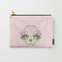 Sphynx Skull - Double Exposure - Pink and Green Carry-All Pouch