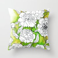 peonies Throw Pillows featuring Peonies by Dheiuk