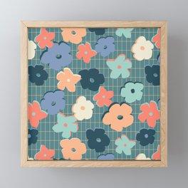 Peach and Aqua Flower Grid Framed Mini Art Print