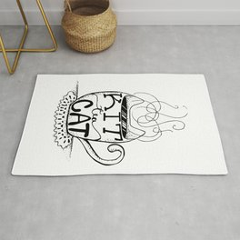 Kittea Cat - Tea Lover - Cat Lover - Mug Cup Lettering - Line Art Rug