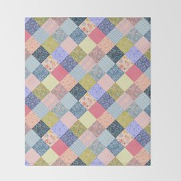 Bohemian diamond patchwork quilt Throw Blanket