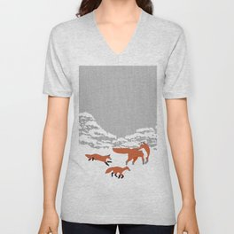 Foxes - Winter forest Unisex V-Neck