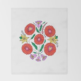 Hungarian embroidery inspired pattern white Throw Blanket