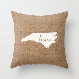 North Carolina is Home - White on Burlap Throw Pillow