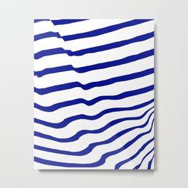 Blue Hand Drawn Stripes Metal Print