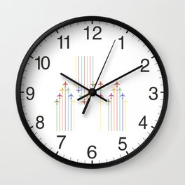 Colorful Aviation Plane Silhouettes Wall Clock