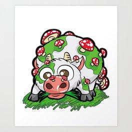 MOOSHROOM Cow with Mushrooms fly agaric Cartoon Art Print