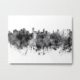 Honolulu skyline in black watercolor on white background Metal Print