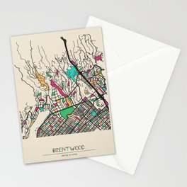 Colorful City Maps: Brentwood, California Stationery Cards