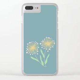 Dusty Blue Dandelions || Make a Wish Clear iPhone Case