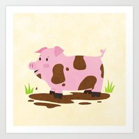 pig Art Prints featuring Pig by Claire Lordon