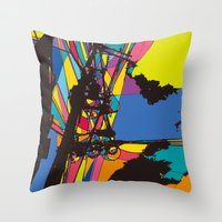 the wire Throw Pillows featuring wire by PINT GRAPHICS