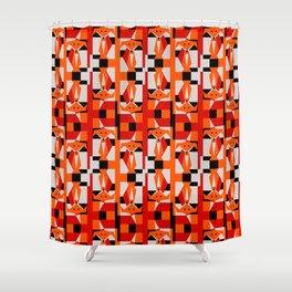Geometric Dancing Foxes Shower Curtain