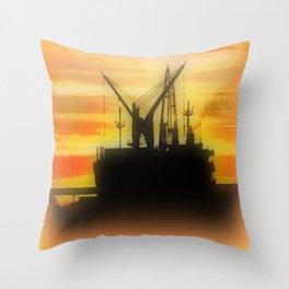 Silhouette of a Ship Throw Pillow
