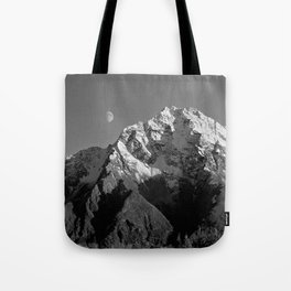Moon Over Pioneer Peak B&W Tote Bag