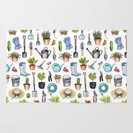 Garden Gear - Spring Gardening Pattern w/ Garden Tools & Supplies Rug