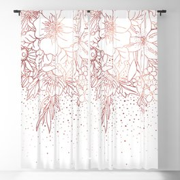 Rose gold hand drawn floral doodles and confetti design Blackout Curtain