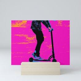 Scootering Along - Stunt Scooter Girl Mini Art Print