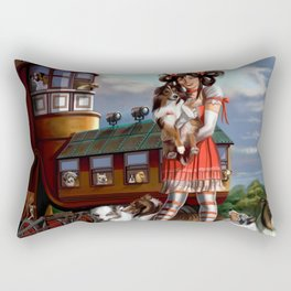 Gothic Lolita in the Shoe with Dogs Rectangular Pillow