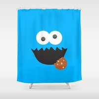 cookie monster Shower Curtains featuring Cookie Monster by whosyourdeddy