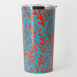 Turquoise and Red Leaves Pattern Travel Mug