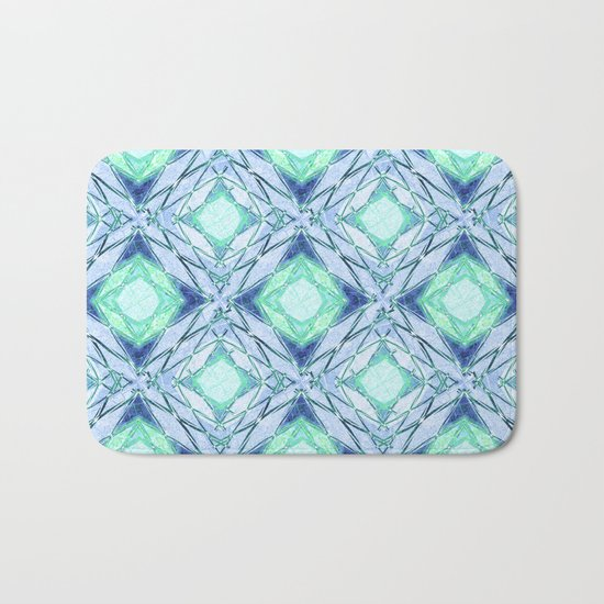 Abstract geometric pattern in blue, light blue,green, colours. Bath Mat