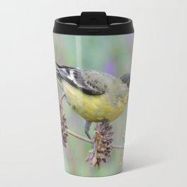 Lesser Goldfinch Snacks on Seeds Travel Mug