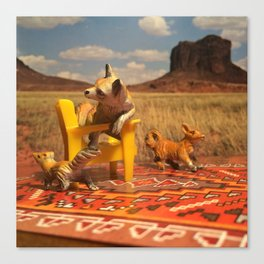 The Foxes & The Desert Picnic Canvas Print