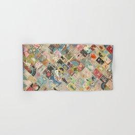 Vintage Japanese matchbox collage Hand & Bath Towel