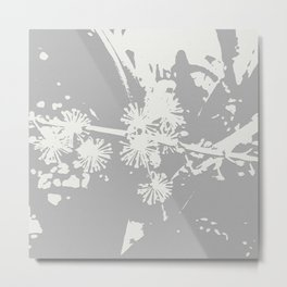 Starflowers on gray Metal Print