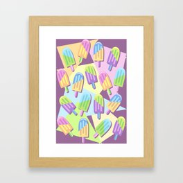 Ice Lollipops Popsicles Summer Punchy Pastels Colors Pattern Framed Art Print