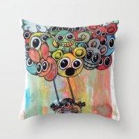 baloon Throw Pillows featuring baloon by Hugo Lucas
