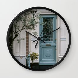 Turquoise door in Amsterdam, Holland || Architecture Cityscape House Buildings Travel Calm Wall Clock
