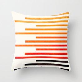 Orange Watercolor Gouache Staggered Stripes Pattern Simple Modern Minimalist Art Throw Pillow