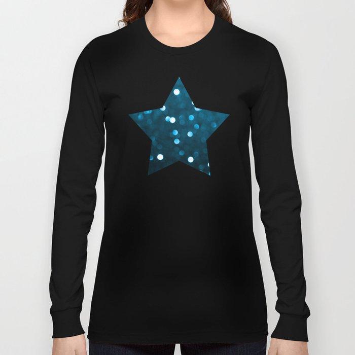 Cyan Blue Sparkly Bokeh Long Sleeve T-shirt