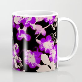 purple canary creeper flower with silhouette leaves on black Coffee Mug