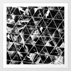 Geometric Whispers - Abstract, black and white triangular, geometric pattern Art Print
