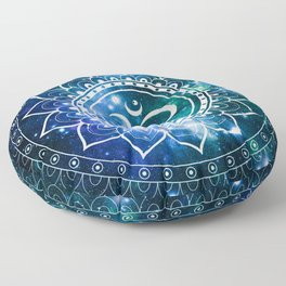 Om Mandala : Blue Green Galaxy Floor Pillow
