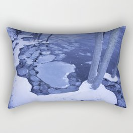 Water And Ice Surround Young Trees Rectangular Pillow