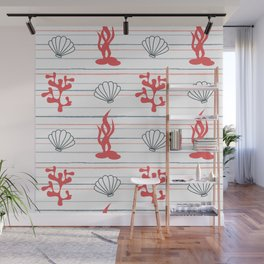 summer marine striped pattern with seashells and corals Wall Mural