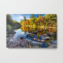 Swift River Fall Foliage Reflections Metal Print