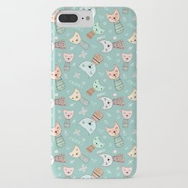 Kokeshi Kitties with Teal Background iPhone Case