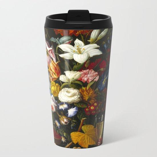 Severin Roesen - Victorian Bouquet Metal Travel Mug