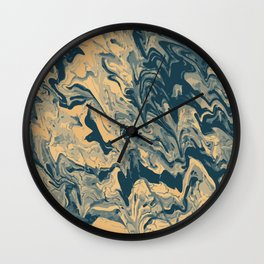 Baesic Paint Pour (Blue & Yellow) Wall Clock