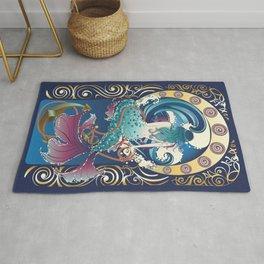 Blue Mermaid with anchor art nouveau design Rug