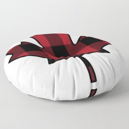 Plaid Maple Leaf Floor Pillow