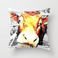 bull Throw Pillows featuring Bull by TexasDesignsByAmy