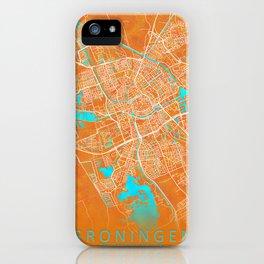 Groningen, Netherlands, Gold, Blue, City, Map iPhone Case