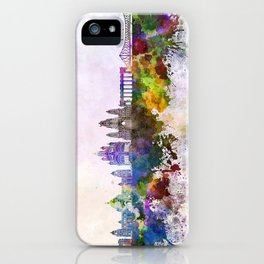 Kolkata skyline in watercolor background iPhone Case