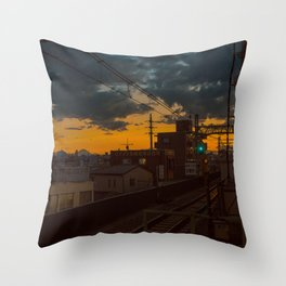 Tokyo Nights / Sunset over Fuji / Liam Wong Throw Pillow